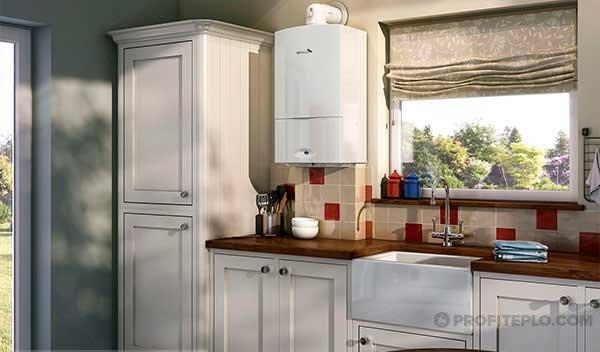 настенный отопительный прибор на кухне