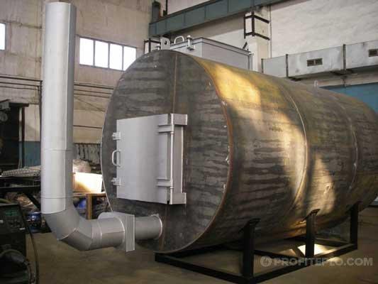 производство древесного угля в промышленной печи