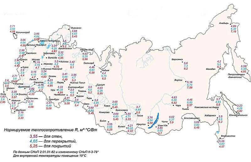 карта нормируемого теплосопротивления